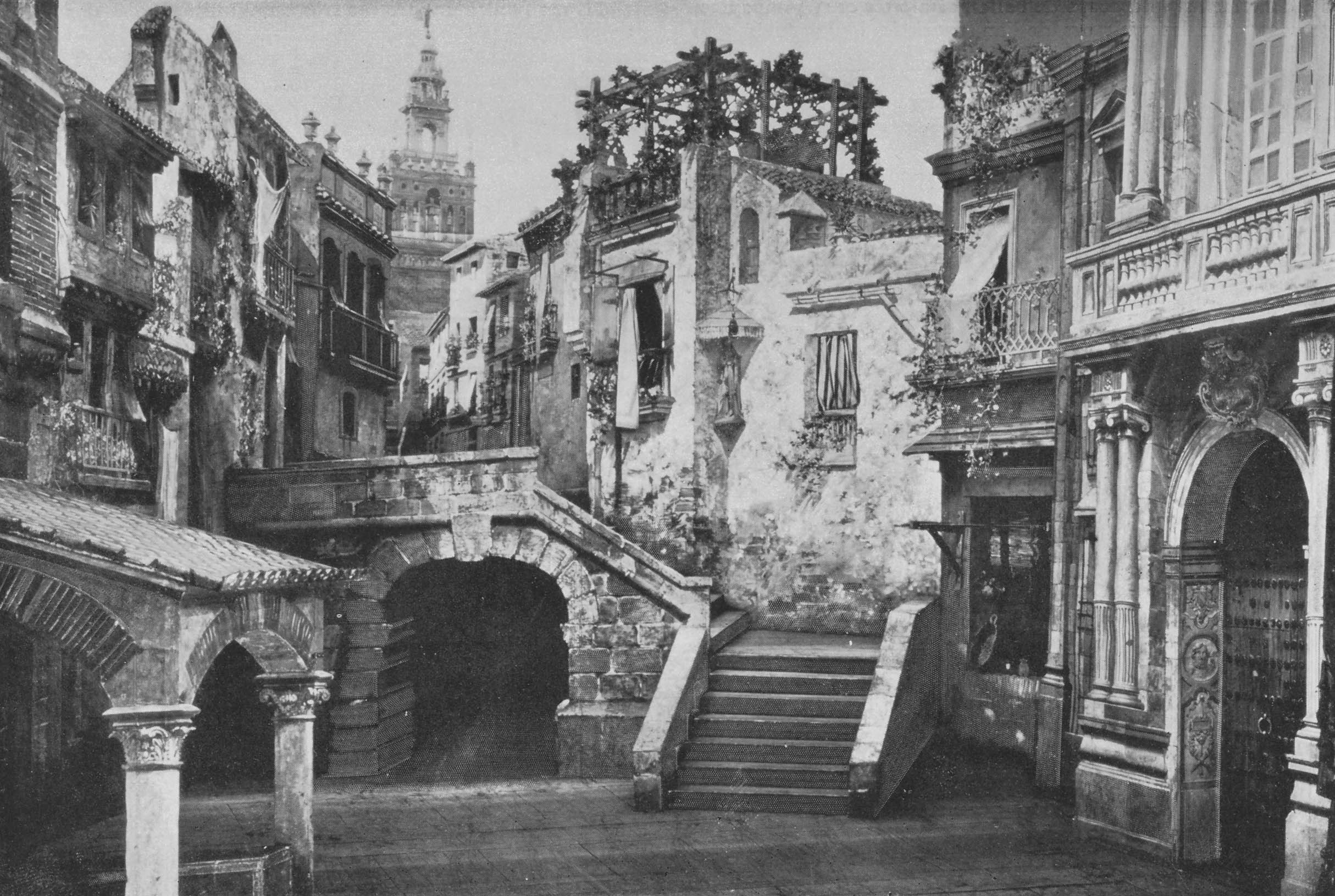 Acte I - Une place à Séville - photo Henri Mairet in Le théâtre 1899, Paris, 1898 Production Run