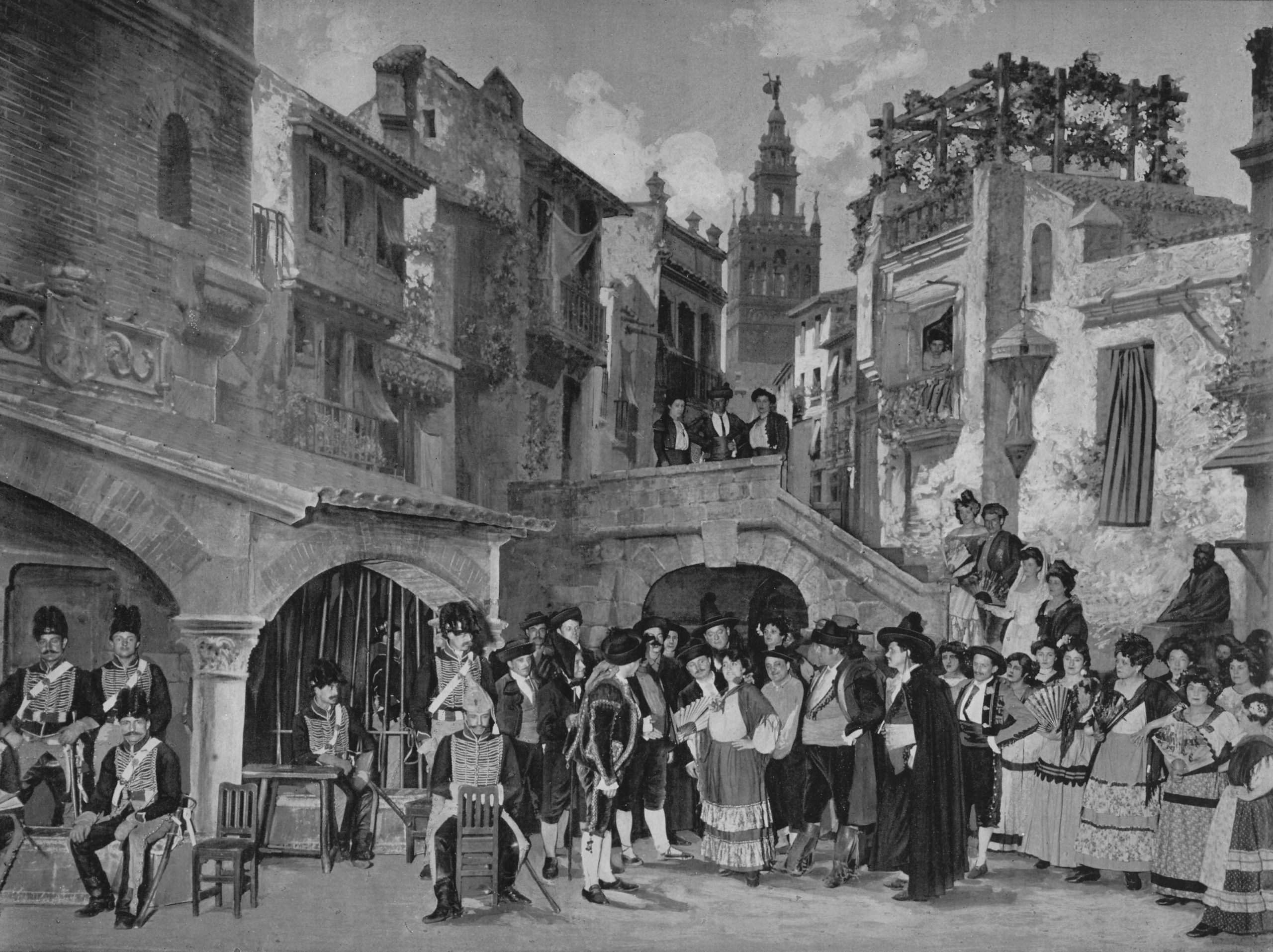 Acte I - Une place à Séville - photo Henri Mairet in Le théâtre 1905, Paris, 1898 Production Run
