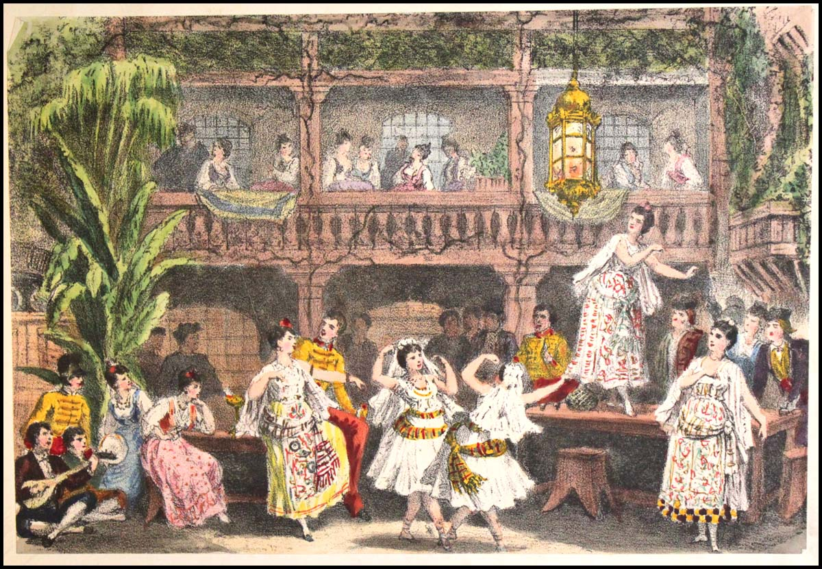 Acte II - La taverne de Lillas Pastia - illustration Auguste Lamy for Choudens, Opéra-Comique, Paris, 1875