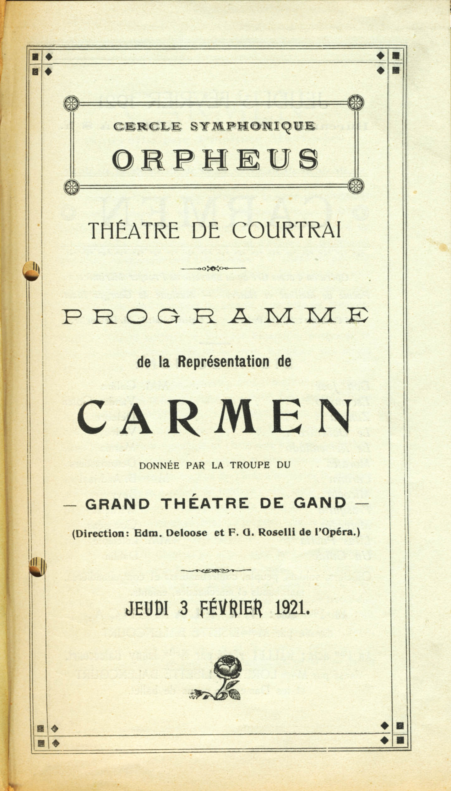 Programme - 1, Stadsschouwburg / Théâtre communal, Courtray, 1921